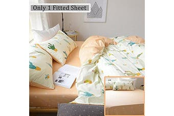 (Full/Queen, Style6) - FenDie Full/Queen Size Orange Fitted Sheet Only - 100% Cotton, Yellow and White Printed Pattern for Bedding, Lightweight Breathable
