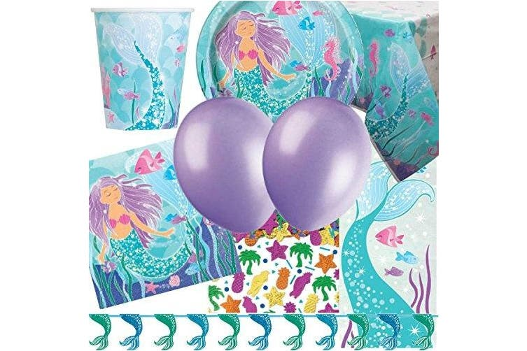 Mermaid Deluxe Party Supplies Kit for 16