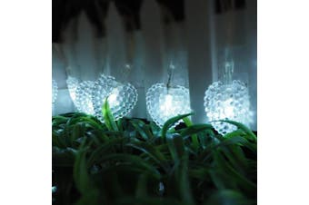 (White) - Outdoor Solar String Lights,KINGCOO 6.1m 30 LED Love Heart Shape Waterproof Christmas Solar Starry Fairy Decorative String Lights with 8 Modes Mood Lighting for Halloween Garden Wedding Party Home Patio Xmas Tree (White)