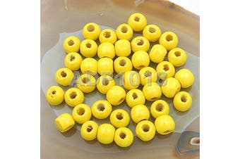 (8x10mm 200pcs, Yellow) - AD Beads Wood Spacer Loose Wooden Craft Beads (8x10mm 200pcs, Yellow)
