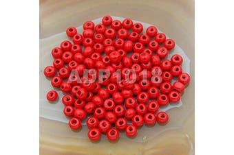 (4x6mm 400pcs, Red) - AD Beads Wood Spacer Loose Wooden Craft Beads (4x6mm 400pcs, Red)