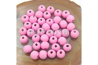 (10x12mm 100pcs, Pink) - AD Beads Wood Spacer Loose Wooden Craft Beads (10x12mm 100pcs, Pink)