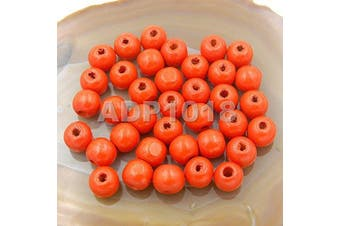 (10x12mm 100pcs, Orange) - AD Beads Wood Spacer Loose Wooden Craft Beads (10x12mm 100pcs, Orange)