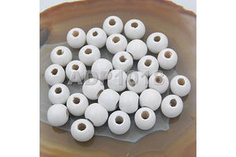 (10x12mm 100pcs, White) - AD Beads Wood Spacer Loose Wooden Craft Beads (10x12mm 100pcs, White)
