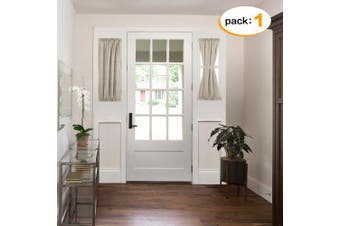 (60cm W x 100cm L | 1 Panel, Taupe) - H.VERSAILTEX Faux Linen Semi Sheer Voile Half Window French Door Curtains, Rod Pocket, 1 Panel 60cm Width by 100cm Length - Taupe