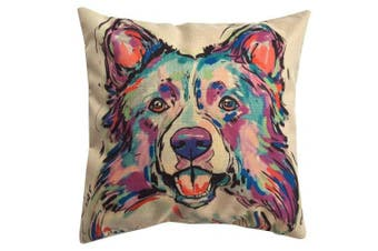 (Cd-go-m4) - Redland Art Cute Pet Border Collie Dog Pattern Cotton Linen Throw Pillow Case Car Sofa Cushion Cover Home Decor