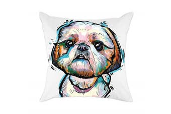 (Cd-go-w8) - Redland Art Cute Pet Shih Tzu Dogs Pattern Cotton Polyester Throw Pillow Case Cushion Cover Home Decor