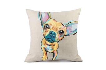 (Cd-go-m7) - Redland Art Cute Pet Chihuahua Dogs Pattern Cotton Linen Throw Pillow Case Cushion Cover Home Decor