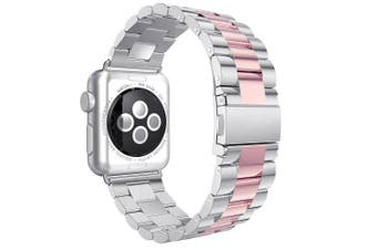 (For Apple Watch Strap 38mm, Silver&Pink) - For iWatch Strap 38mm AISPORTS Apple Watch Straps 38mm Stainless Steel Smart Watch Bands Adjustable Replacement Strap Metal Bracelet Buckle Clasp for 38mm iWatch Series 3/2/1 Sport Edition - Silver/Pink