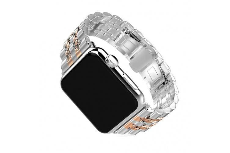 (For Apple Watch Strap 38mm, Silver&Rose Gold) - For iWatch Straps 38mm AISPORTS Apple Watch Strap 38mm Stainless Steel 7 Blade Design Smart Watch Band Replacement Strap Butterfly Closure for 38mm iWatch Series 3/2/1 Sport Edition - Silver/Rose Gold