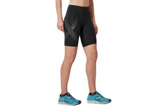 (Large, Black/Dotted Reflective Logo) - 2XU Women's Mid-Rise Compression Shorts