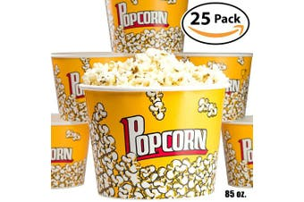 (25) - Premium Leak-Free 2510ml Disposable Popcorn Tub By Avant Grub. Stackable Buckets With Fun Design. Great For Concession Stands, Carnivals, Fundraisers, School Events, Or Family Movie Nights. (25)
