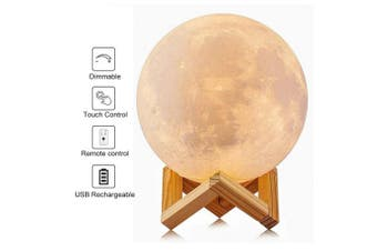 AK1980 Night Light 3D Moon Lamp with Remote & Touch Control and Adjustable Brightness 16 colour Rechargeable LED Moon Light bedside Desk Lamp Home Decorative Light with Wood Stand for Kid Baby 15cm