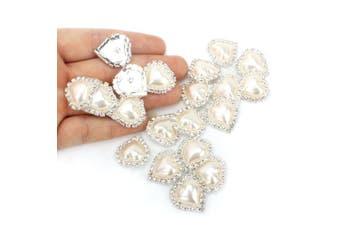 (Shank) - Wholesale 20 PCS Ivory Heart Rhinestone Faux Pearl Embellishments Shank Buttons Bulk Sew