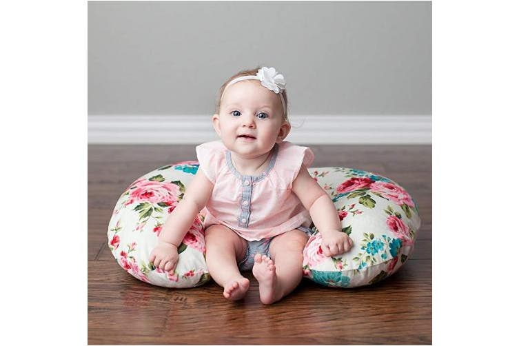 (One Size, White Floral Minky) - Minky Nursing Pillow Cover | White Floral Pattern Slipcover | Best for Breastfeeding Moms | Soft Fabric Fits Snug On Infant Nursing Pillows to Aid Mothers While Breast Feeding | Great Baby Shower Gift