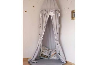 (Gray) - LOAOL Kids Bed Canopy with Pom Pom Hanging Mosquito Net for Baby Crib Nook Castle Game Tent Nursery Play Room Decor (Grey)