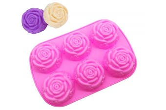 Larger Silicone Soap Mould, Rose mould, Baking Mould Cake Pan, Biscuit Chocolate Mould,Ice Cube Tray 6-Rose