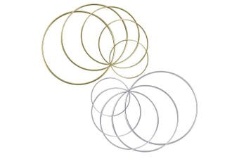 BronaGrand Set of 10 Pieces Assorted Metal Hoops Metal Rings for Dream Catcher and Crafts, 5.1cm , 7.6cm , 10cm , 13cm , 15cm (Gold and Silver)