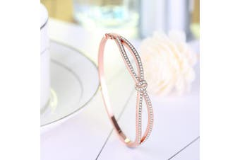 (Rose Gold 1) - Angelady Bracelets Bangles for Womens Ladies in Rose Gold Jewellery for Women Crystals from -Birthday Valentine's Day Mother's Day Gift for Women Mum Wife Sister Girlfriend-Come with Gift Box