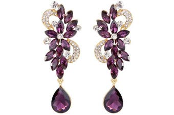 (Gold-Tone Amethyst Color) - Clearine Women's Bohemian Boho Crystal Flower Wedding Bridal Chandelier Teardrop Bling Dangle Earrings
