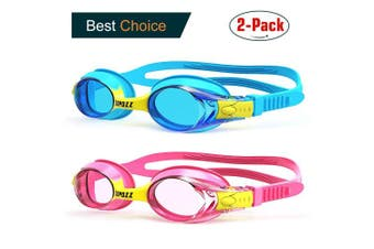 (K1 Blue+Pink Goggles) - COPOZZ Kids Swimming Goggles, Child (Age 4-12) Waterproof Swim Goggles Clear Vision Anti Fog UV Protection No Leak Soft Silicone Frame for Kid Toddler Boys Girls