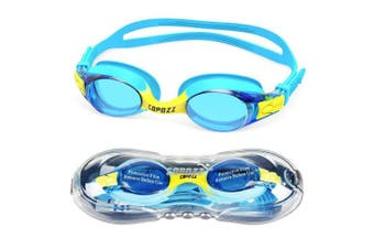 (K1 Blue + Cap) - COPOZZ Kids Swimming Goggles, Child (Age 4-12) Waterproof Swim Goggles Clear Vision Anti Fog UV Protection No Leak Soft Silicone Frame for Kid Toddler Boys Girls
