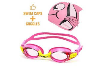 (K1 Pink+ Cap) - COPOZZ Kids Swimming Goggles, Child (Age 4-12) Waterproof Swim Goggles Clear Vision Anti Fog UV Protection No Leak Soft Silicone Frame for Kid Toddler Boys Girls