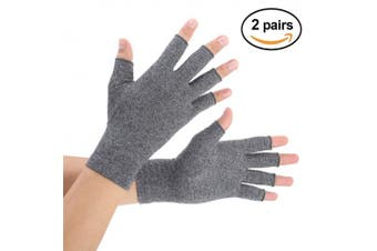 (Medium, Gray) - Brace Master 2 Pairs Compression Arthritis Gloves Support and Warmth for Hands, Finger Joint, Relieve Pain from RSI, Carpal Tunnel and Tendonitis for Women and Men (Grey, Medium)