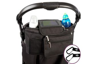 (Black) - BTR Buggy Organiser Pram Bag with Detachable Purse & Mobile Phone Holder. Black
