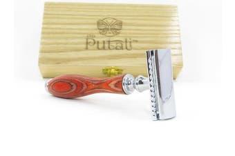 (Bryce Canyon Orange) - Putali Ltd. | Premium Double Edge Safety Shaving Razor for Men or Women– No Slip Eco Friendly Pakkawood Handle | Bryce Canyon (Orange)