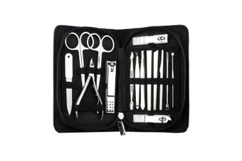 (Black) - AMarkUp Manicure Pedicure Set Tools Nail Clippers for Men & Women Home Travel Grooming Kit (15Pcs/set,Black)