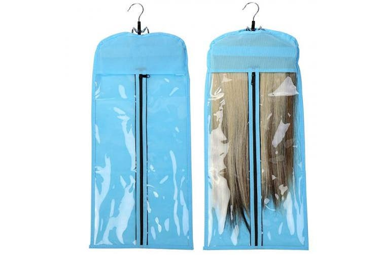 (Hair Carrier & Hanger, Blue) - Hair Extension Hanger Strong Holder with Double Anti-Slip Stickers & protection case (colour: Blue)