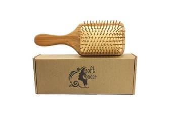 Natural Wooden Bamboo Hair Brush For Thick,Straight,Long,Curly,Wavy, Short Hair,Bamboo Bristles Pin Hairbrush Scalp Massage Improve Hair Health,Large Detangling Hair Brushes