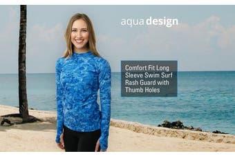 (Aqua Sky, Medium) - Aqua Design Women Loose Fit Long Sleeve UPF Sun Protection Swim Surf Athletic Rash Guard With Thumb Holes Top Vest T-Shirt