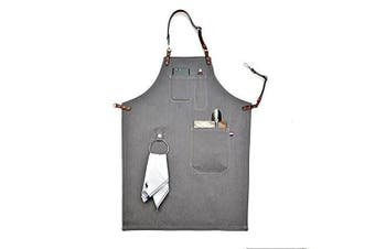 (90cm  by 60cm ) - Heavy Duty Grey Waxed Canvas Work Apron With Pockets For Man (90cm by 60cm )