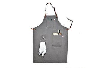 (80cm  by 60cm ) - Heavy Duty Grey Waxed Canvas Work Apron With Pockets For Man (80cm by 60cm )