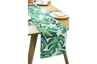 (12W x 72L) - BOXAN Classic Durable White Linen Burlap Table Runner with Green Tropical Monstera Palm Leaves for Spring Summer Wedding Party Birthday Party Home Decor, Hawaii Luau Party Decor, 30cm x 180cm