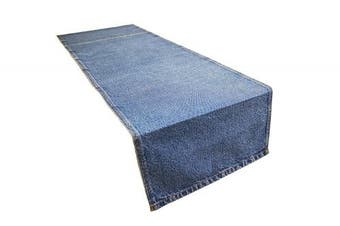 (33cm  X 180cm  - Light Wash) - AAYU Blue Denim Fabric Table Runner | Premium Quality Stone Washed |33cm X 180cm | Kitchen, Dining Room, Bedroom Decor | Light Wash