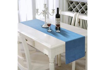 (33cm  X 270cm  - Light Wash) - AAYU Blue Denim Table Runner | Premium Quality Stone Washed | Dresser Runner for Bedroom | Dining Room, Coffee Table Cover | 33cm X 270cm | Nautical Light Wash