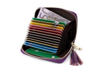(Purple) - Credit Card Holders Women Ladies Leather Credit Card Wallets for Women Credit Card Holder Women RFID Protector (Purple)