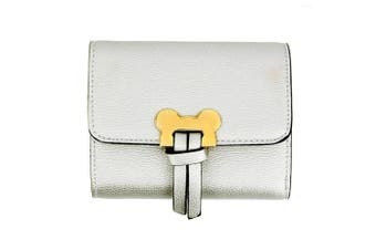 (Design 1 - Silver) - Womens Medium Size Purses Ladies Wallet With Card Slots and Flap