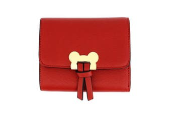 (Design 1 - Red) - Womens Medium Size Purses Ladies Wallet With Card Slots and Flap