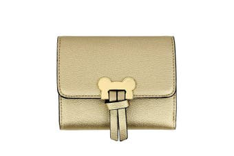 (Design 1 - Gold) - Womens Medium Size Purses Ladies Wallet With Card Slots and Flap