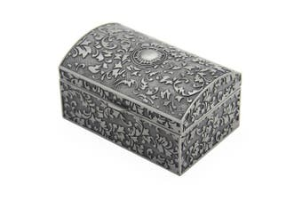 AVESON Rectangle Vintage Metal Jewellery Box Jewellery Trinket Gift Boxes Organiser Chest Ring Case for Girls Ladies Women, Antique Tin Colour