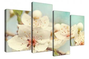 Large Japanese Cherry Blossom Duck Egg Blue White Floral Shabby Chic Canvas Multi 4 Part - 4289 Wallfillers