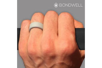 (12, Light Gray) - Bondwell BEST SILICONE WEDDING RING FOR MEN Protect Your Finger & Marriage Safe, Durable Rubber Wedding Band for Active Athletes, Military, Crossfit, Weight Lifting, Workout - 100% Guarantee