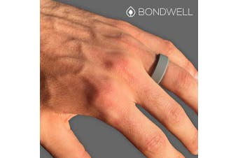 (10, Gray) - Bondwell BEST SILICONE WEDDING RING FOR MEN Protect Your Finger & Marriage Safe, Durable Rubber Wedding Band for Active Athletes, Military, Crossfit, Weight Lifting, Workout - 100% Guarantee