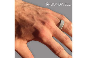 (7, Light Gray) - Bondwell BEST SILICONE WEDDING RING FOR MEN Protect Your Finger & Marriage Safe, Durable Rubber Wedding Band for Active Athletes, Military, Crossfit, Weight Lifting, Workout - 100% Guarantee