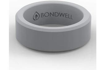 (9, Gray) - Bondwell BEST SILICONE WEDDING RING FOR MEN Protect Your Finger & Marriage Safe, Durable Rubber Wedding Band for Active Athletes, Military, Crossfit, Weight Lifting, Workout - 100% Guarantee