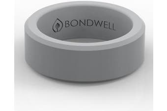 (13, Gray) - Bondwell BEST SILICONE WEDDING RING FOR MEN Protect Your Finger & Marriage Safe, Durable Rubber Wedding Band for Active Athletes, Military, Crossfit, Weight Lifting, Workout - 100% Guarantee